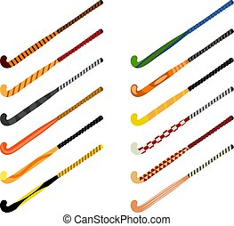 Set of hockey sticks on grass on a white background. Sports equipment for the game. Beautiful sticks. Vector illustration