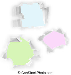 Set of holes in white paper.