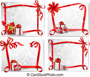Set of holiday backgrounds with red gift bow with gift boxes. Vector illustration.