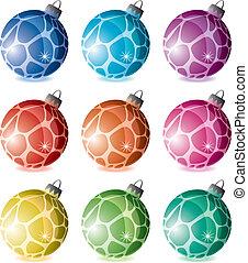 set of holiday balls