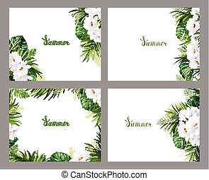 Set of Holiday banners with green tropical palm, monstera leaves and magnolia blooming flowers on the white background. Four composition with one style elements on the summer poster.