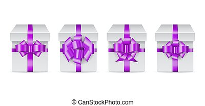 set of holiday box with violet bow