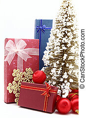 set of holiday boxes with christmas tree and ornament