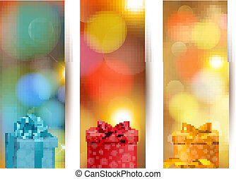 Set of holiday christmas banners with gift boxes and ribbon. Vector illustration
