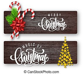 Set of holiday greeting card with lettering, fir branches, candy canes, red bow and Christmas tree of golden stars on wood background