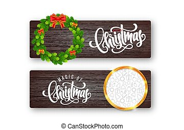 Set of holiday greeting card with lettering, fir wreath, red bow and golden frame with Christmas icons on wood background