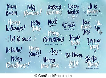 Set of hand calligraphic cards with winter holidays quotes and set of holiday greeting quotes and wishes hand drawn text great for cards m4hsunfo