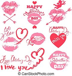 Set of holiday labels - pink lips print, hearts, angel, Calligraphy elements, hand written text: Happy Valentine`s Day, I love you,  etc. Isolated on white background.