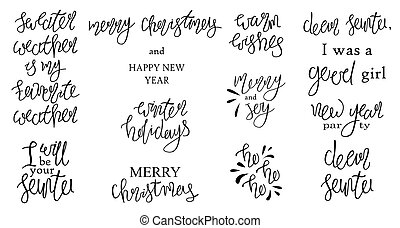 Set of holiday lettering. Vector Merry Christmas and Happy New Year quotes.