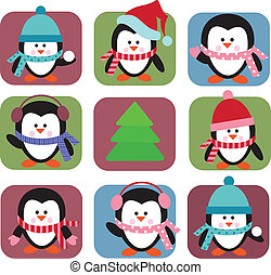 set of holiday penguins, greeting card template