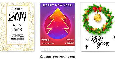 Set of holiday posters for Happy New Year events. Greetings poster with golden, Christmas toys, wreath of fir branches, calligraphic text and Christmas tree. Vector illustration for holidays, eps 10