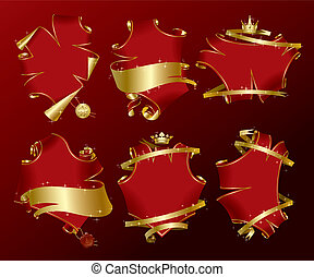 Set of holiday red banners - Isolated raster version of...