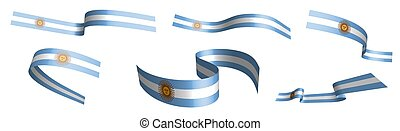 Set of holiday ribbons. Argentina flag waving in wind. ...
