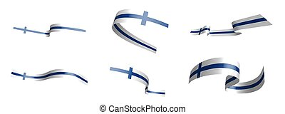Set of holiday ribbons. flag of Finland waving in the wind. Separation into lower and upper layers. Design element. Vector on a white background