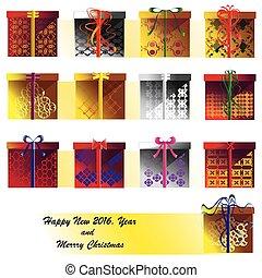 Set of holiday shiny present box