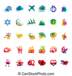 Set of holidays icons for celebrations and events