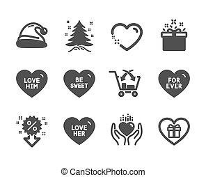 Set of Holidays icons, such as Christmas tree, Santa hat, Hold heart. Vector