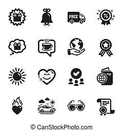 Set of Holidays icons, such as Free delivery, Bell, Smile chat. Vector