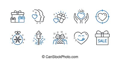 Set of Holidays icons, such as Heart target, Heart, Surprise boxes. Vector