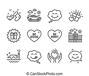 Set of Holidays icons, such as Hold heart, Be good, Santa boots. Vector