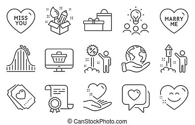 Set of Holidays icons, such as Hold heart, Roller coaster, Smile chat. Vector