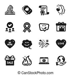 Set of Holidays icons, such as Hot sale, Roller coaster, Love. Vector