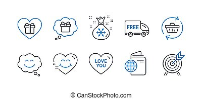 Set of Holidays icons, such as Refresh cart, Smile chat, Romantic gift. Vector