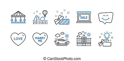 Set of Holidays icons, such as Sale, Love, Present. Vector