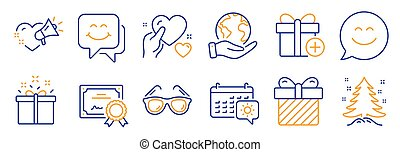 Set of Holidays icons, such as Special offer, Smile face, Love message. Vector