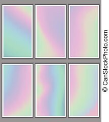 set of holographic backgrounds for business cards
