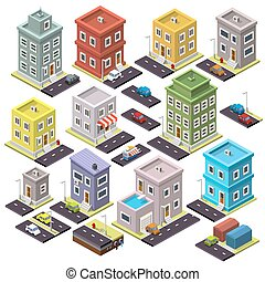 Set of home and road with cars isometric