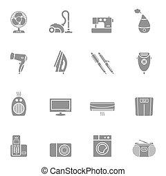 Set of home appliances icon set