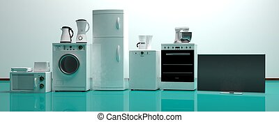 Set of home appliances on a green floor. 3d illustration