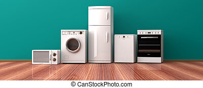 Set of home appliances on a wooden floor. 3d illustration