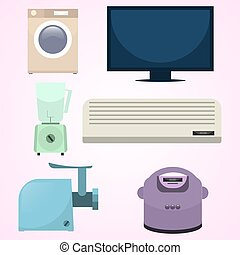 Set of home electronic devices vector isolated objects