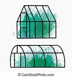 Set of home greenhouse with green watercolor splashes. ...