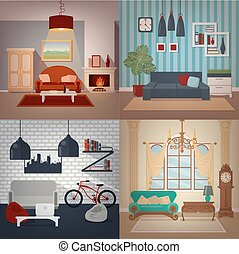 Set of Home Interiors in Different Styles