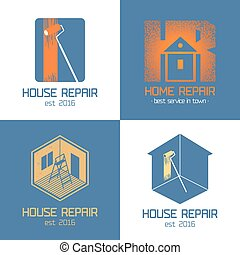 Set of home repair, house renovation vector icon, symbol