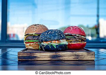 Set of homemade hamburgers