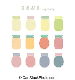 Set of homemade jam jars