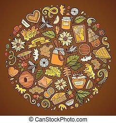 Set of Honey cartoon doodle objects