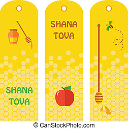 """Set of honey labels, badges and design elements for Rosh Hashana.  """"Happy New Year"""" (Hebrew)"""