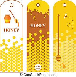 Set of honey labels, badges and design elements