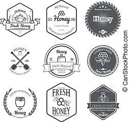 Set of Honey Labels Design Elements Vector