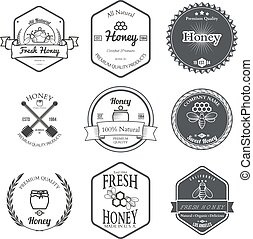 Set of Honey Labels Design Elements Vector