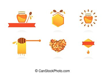Set of honey labels, icons and design elements