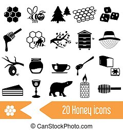 set of honey theme black icons eps10