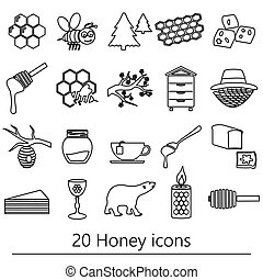 set of honey theme black outline icons eps10