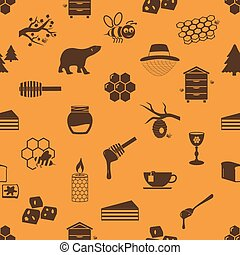 set of honey theme icons seamless pattern eps10