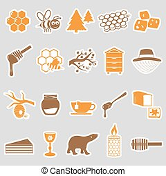set of honey theme stickers icons eps10